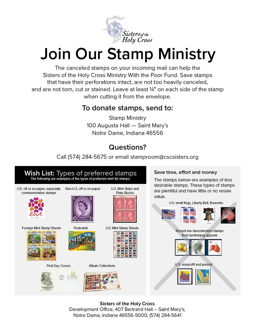 Sisters of the Holy Cross Stamp Ministry benefits the Ministry With the Poor Fund