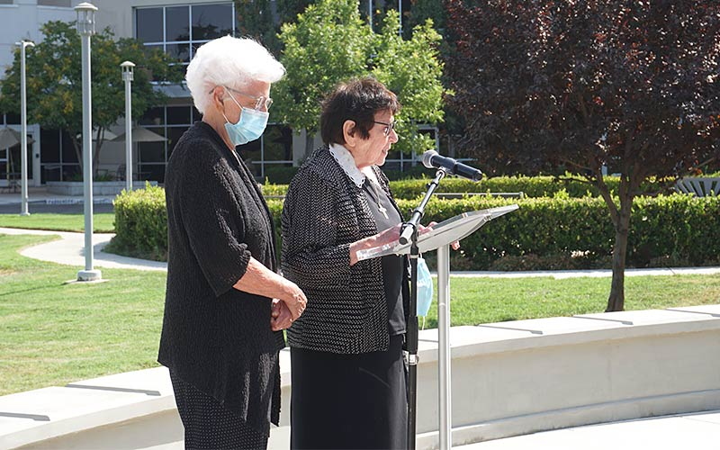 Holy Cross Sisters M. Francis Christine (Alvarez) and M. Emily (Demuth), shared words of gratitude  with the community and for the fountain
