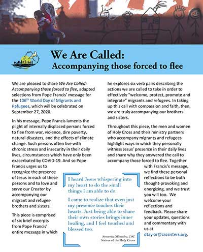 """Commemorating this day, the Holy Cross International Justice Office and Congregation Justice Office have created the prayer and reflection resource """"We Are Called: Accompanying those forced to flee."""""""