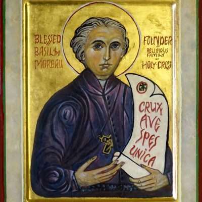 An icon of Blessed Basil Anthony Moreau, founder of the Congregations of Holy Cross created by Sister Eileen Dewsnup, CSC.