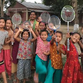 Hostel girls pictured with Sister Mary Magdalena having fun as they prepare to play games of badminton.