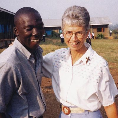 Sister Mary Louise poses with Stephen Mukwaya