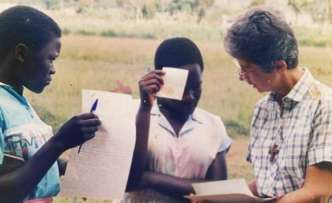 Sister Mary Louise converses with prospective students in 1992.