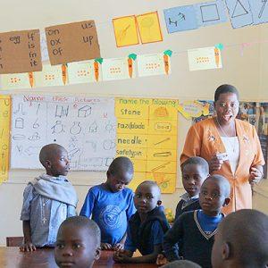 Sister Jacinta Katusabe teaches a class at Moreau Primary School in Kirinda, Uganda.