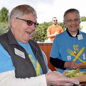 At the Bike Michiana fundraiser, Sister Carmel, left, serves up food with Sister Mary Pius.