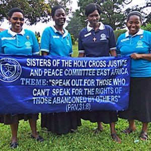 Pictured from left to right are Sisters Jacinta Mueni Munyao, CSC, Martha Nambi, CSC, Grace Kitinisa, CSC and Semerita Mbambu, CSC.