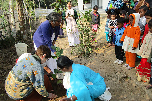 Sisters planted a tree in honor of the opening of the school.