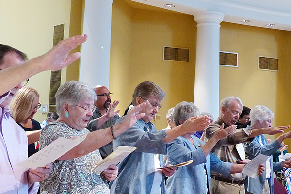 Worshipers celebrate Jubilarians at the Church of Our Lady of Loretto Church