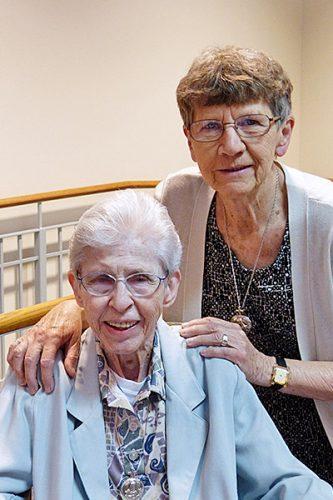 Sister M. Louisita (Welsh) and Sister Joy O'Grady at Saint Mary's