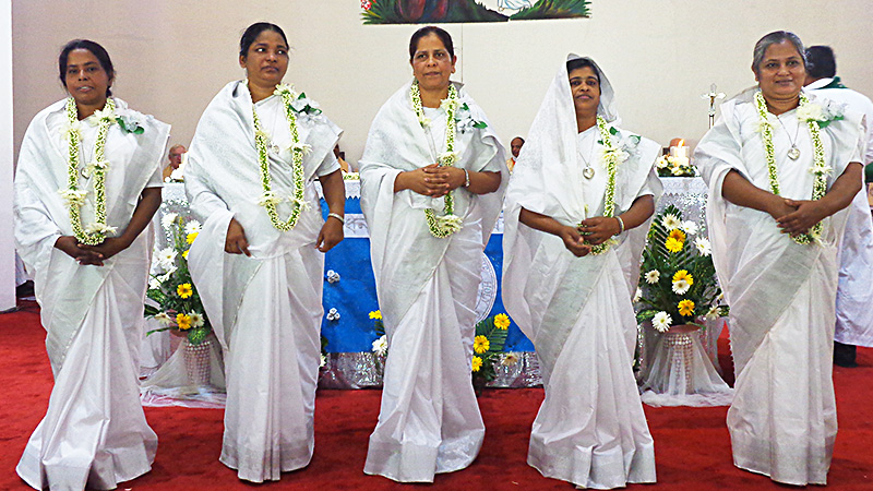 From left, Holy Cross Sisters Lotika Gomes, Bashona Rebeiro, Kolpona Costa, Shiuli Gomes, and Monju Corraya were recognized during a jubilee celebration in Bangladesh for 25 years of life and service with the Congregation. Fellow 25-year jubilarian Nita Rozario, who was at Saint Mary's at the time of the celebration, also was honored during the event.