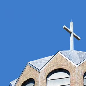 Cross at the top of the Church of Our Lady of Loretto