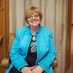 Dianna Jaronik, currently the secretary and receptionist for Resident Services Administration at Saint Mary's Convent, has worked for the Sisters of the Holy Cross for 40 years.