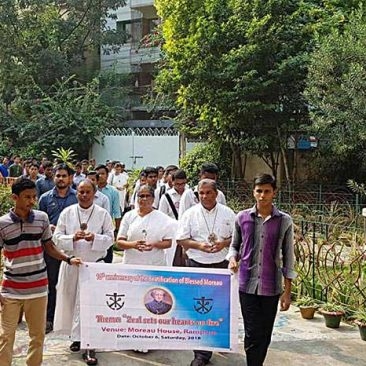 Holy Cross priests, brothers and sisters from the Dhaka, Bangladesh, region processed with students from Holy Cross educational institutions during a celebration marking the 10th anniversary of the beatification of Blessed Basil Anthony Moreau.