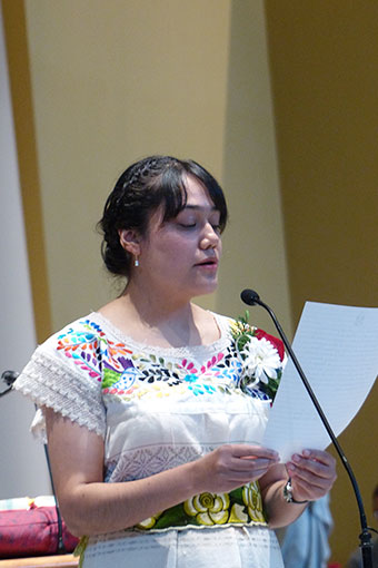 Sister Nieves Lidia Ortiz Galván, CSC, professed her vows by reading from her hand-written formula.