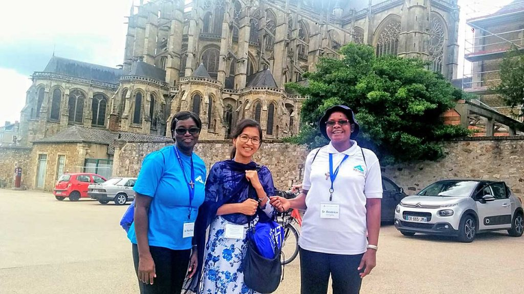 From left to right, Sisters of the Holy Cross Martina Dery, Meri Halam and Beatrice Wangatia enjoyed their visit to the Cathedral of St. Julien in Le Mans, France.