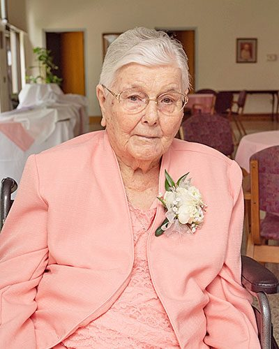Sister M. Carmen (Davy), CSC, celebrated for her 75 years of consecrated life.