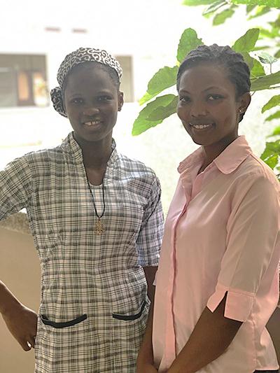 Novices-elect Sisters Linda Suurbeta Bonye, left, and Rita Boakyewaa Konadu started a garden during mandated quarantine time in Takoradi, Ghana, West Africa.