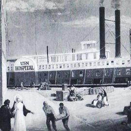 In January 1862, three Sisters of the Holy Cross boarded the Red Rover, the first U.S. naval hospital ship, to care for the sick and wounded of both armies of the Civil War; they became the forerunners to today's Navy nurses.