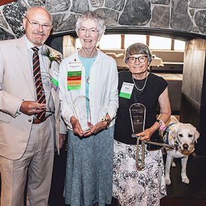 Photo provided by Daniel Olson Pictured from left are Bill Morgan, MD, Distinguished Doctor Award recipient, Sister Elsbeth Mulvaney, CSC, Distinguished Individual Citizen Award recipient, and Diane Rampeling of Dustin's Paw, Distinguished Organizational Citizen Award recipient from the Saint Alphonsus Foundation.