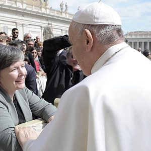 Sister Sharelt in Rome with the Pope