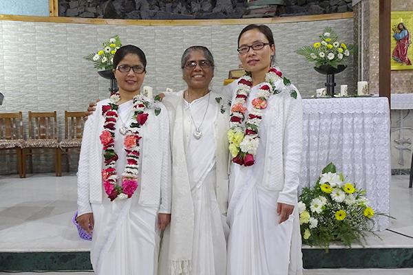 Sister Bijoycy Thongnibah, Sister Pushpa Teresa Gomes, Area of Asia coordinator, and Sister Khochem Mossang