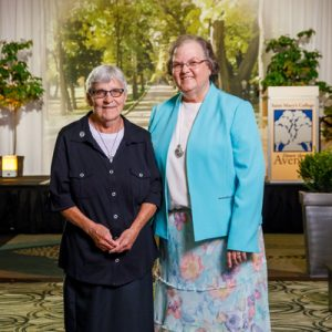 Pictured from left is Sister Carmel Marie (Sallows), CSC, and Sister M. Veronique (Wiedower), CSC, at the Down the Avenue event at Saint Mary's College. Sister Carmel was presented the Spirit of Service Award at the event.