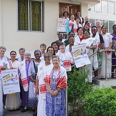 Sisters of the Holy Cross hold Play for Life: Denounce Human Trafficking (Campaña Juega por la Vida: Denuncia La Trata) posters. Sisters Mary Josephine Delany and Conceição Nogueira dos Santos have been working on the campaign in conjunction with the Pan American and Parapan American Games that will be held in Lima July 26-August 11. The campaign began on February 8, during the International Day of Prayer and Awareness Against Human Trafficking.