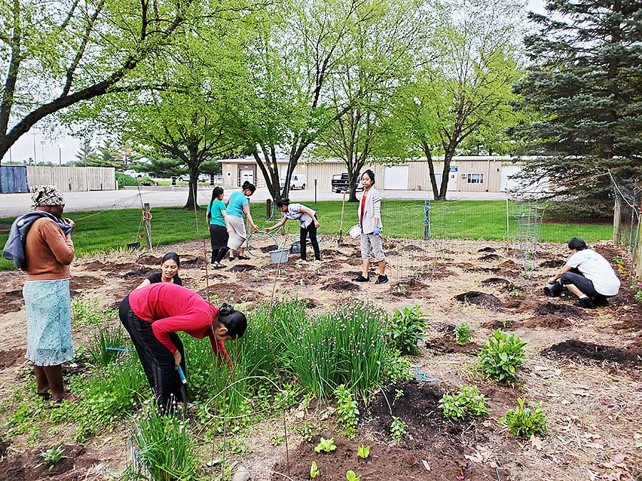 During their extended stay at the motherhouse at Saint Mary's, members of the Solitude Solidarity Community ministered in many ways—tending gardens, serving as health screeners and contributing to liturgy—growing together in religious life.