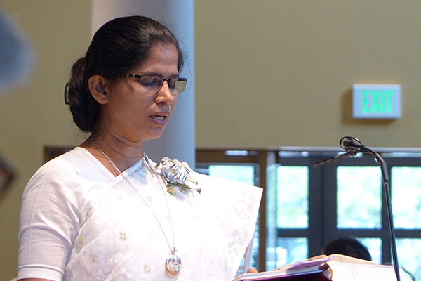 Silver jubilarian Sister Mary Renu Samaddar, CSC, reads the Word during the jubilee Mass.