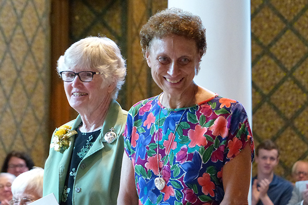 Holy Cross Sisters Helene Sharp, left, and Celine Dounies, both 50-year jubilarians, were celebrated with a jubilee Mass and reception on July 21 at Saint Mary's, Notre Dame, Indiana.